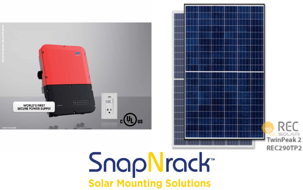 4.35 kW Grid Tie Solar System with SMA 3.8 String Inverter and 15x REC 290w Panels