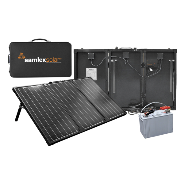 PORTABLE FOLDING SYSTEM WITH RACK, 135W SAMLEX PV, DC-ONLY, 12 VDC, NO BATTERY